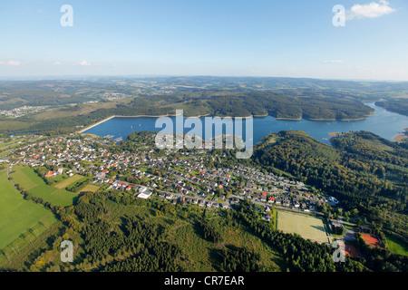 Aerial view, Sorpesee Lake, Sundern, Langscheid, Sauerland region, North Rhine-Westphalia, Germany, Europe - Stock Photo