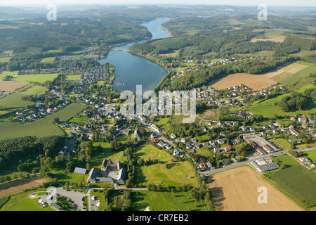 Aerial view, Sorpesee Lake, Sundern, Langscheid, Sauerland region, North Rhine-Westphalia, Germany, Europe - Stock Photo