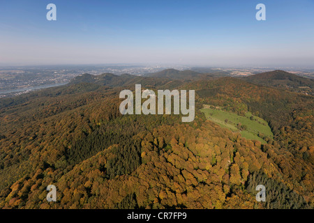 Aerial view, Rhein-Sieg-Kreis district, Siebengebirge mountain range, Koenigswinter, North Rhine-Westphalia, Germany, - Stock Photo