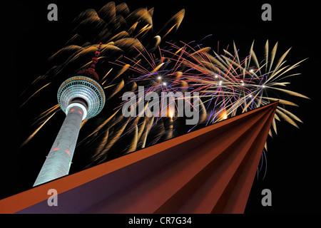 Berlin TV tower, fireworks on New Years Eve, Alexanderplatz, Berlin Germany, Europe, Composing - Stock Photo