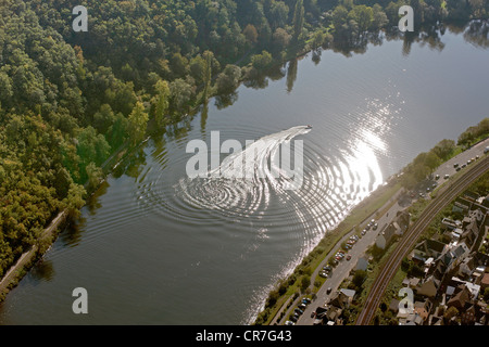 Aerial view, motor boat on the Moselle River, Klotten, Eifel mountain range, Rhineland-Palatinate, Germany, Europe - Stock Photo