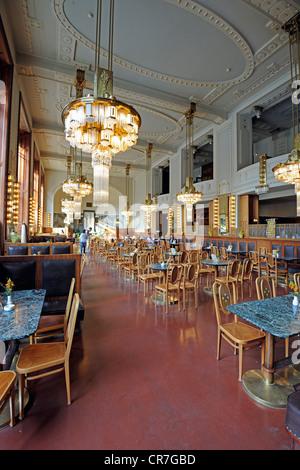 Cafe Nouveau in the Municipal House Obecni Dum, Prague, Bohemia, Czech Republic, Europe - Stock Photo