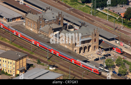 High angle view of trains at railroad station in city for Depot minden