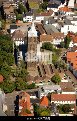 Aerial view, steeple of Marienkirche or St. Mary's church in Minden, Minden-Luebbecke, North Rhine-Westphalia, Germany, - Stock Photo