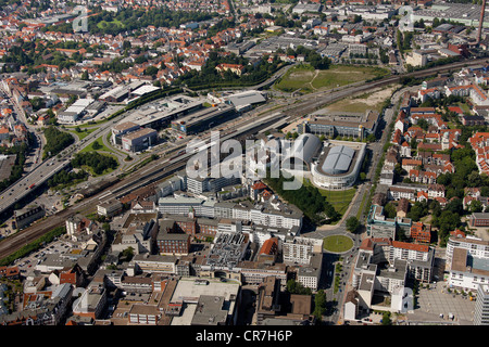 Aerial view, central station, station district, new station district ...