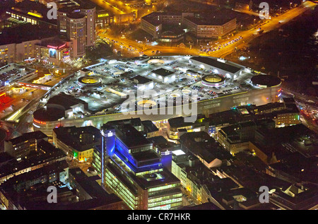 Aerial view, Limbecker Platz square at night, shopping center, ECE at night, Essen, Ruhr area, North Rhine-Westphalia - Stock Photo