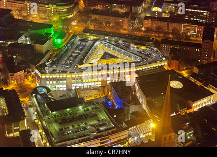Aerial view, night view, ThierGalerie, Thier-Galerie, shopping centre, ECE, town centre, Dortmund, Ruhr Area - Stock Photo