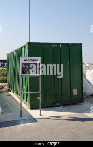 A section in a civic amenity site, also called bring in site, where toxic asbestos is collected to be safely disposed. - Stock Photo