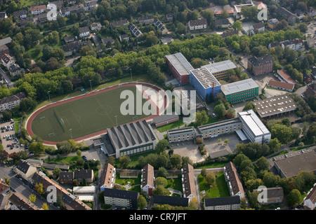 Aerial view, solar panels on roofs, vocational schools in Husemannstrasse, Witten, Ruhr Area, North Rhine-Westphalia - Stock Photo