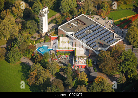 Aerial view, Grugapark, Essen, Ruhr Area, North Rhine-Westphalia, Germany, Europe - Stock Photo