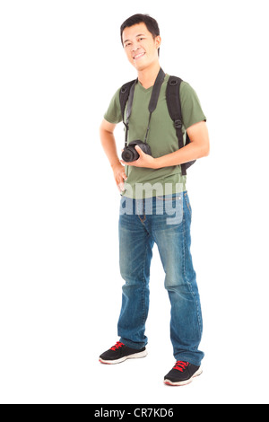 Full length of asian young man with camera - Stock Photo