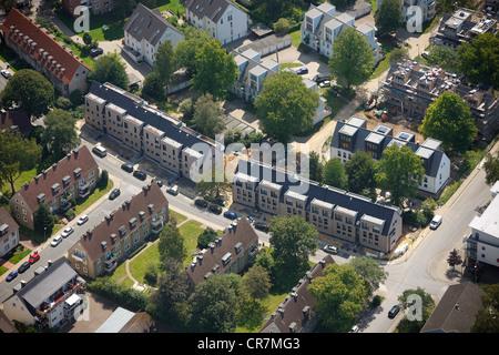 Aerial view, residential complex, passive houses, Hattinger Suedstadt district, Hattinger Wohnungsbaugesellschaft - Stock Photo