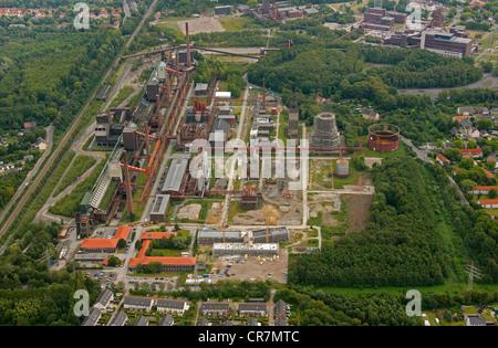 Aerial view, Zollverein Kokerei coking plant, closed 1993, Essen, Ruhr area, North Rhine-Westphalia, Germany, Europe - Stock Photo