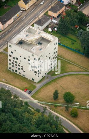 Aerial view, Zollverein School of Management and Design, World Heritage, Essen, Ruhr Area, North Rhine-Westphalia - Stock Photo