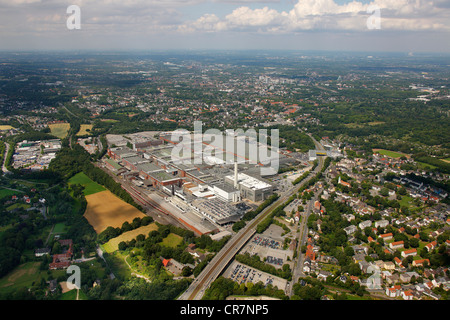 Aerial view, Opel Werk 1, car production plant, Bochum, Ruhr Area, North Rhine-Westphalia, Germany, Europe - Stock Photo