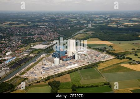 Aerial view, EON Datteln 4 Power Station, Dortmund-Ems Canal, Datteln, Ruhr Area, North Rhine-Westphalia, Germany, - Stock Photo
