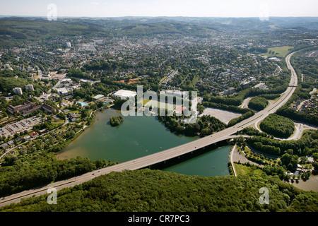 Aerial view, Lake Seilersee or Callerbachtalsperre storage lake, Iserlohn, Maerkischer Kreis area - Stock Photo