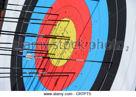 European Championships Archery - Amsterdam The Netherlands. Targets and arrows in the Recurve competition. - Stock Photo