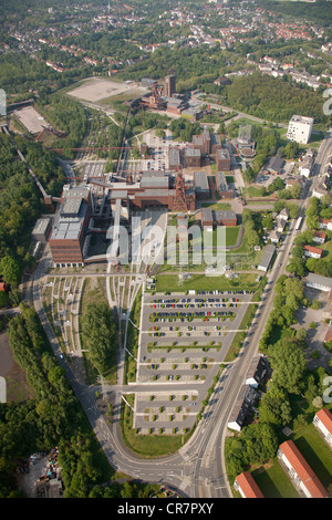 Aerial view, former mine Zeche Zollverein, UNESCO World Heritage Site, Museum, Essen, Ruhrgebiet region, North Rhine - Stock Photo