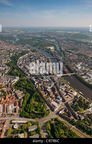 Aerial view, old town island, Weser river, Bremen, Germany, Europe - Stock Photo