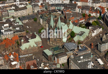 Aerial view, city hall, cathedral St. Petri-Dom, Am Markt, old town island, Bremen, Germany, Europe - Stock Photo