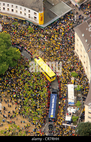 Aerial view, Borsigplatz square, motorcade to celebrate the team of the BVB, Borussia Dortmund, after winning the - Stock Photo