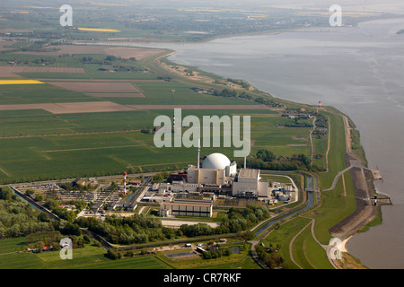 Aerial view, Brokdorf Nuclear Power Plant, Schleswig-Holstein, Germany, Europe - Stock Photo