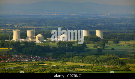 Aerial view, Biblis Nuclear Power Plant, Hesse, Germany, Europe - Stock Photo