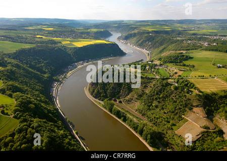Aerial view, Loreley rock, Urbar, Rhine River, low water, Upper Middle Rhine Valley World Heritage site, Rhineland - Stock Photo