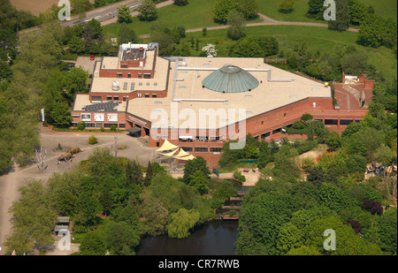 Aerial view, Allwetterzoo Muenster Zoo, with LWL Museum of Natural History, Muenster, Muensterland region - Stock Photo