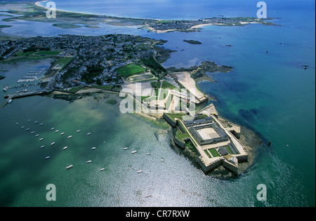France, Morbihan, Port Louis, the Citadel (aerial view) - Stock Photo