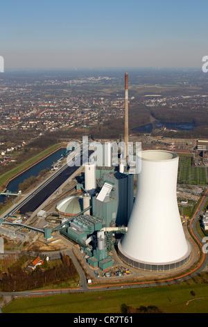 Aerial view, Kraftwerk Walsum coal power plant, Evonik STEAG, Rhine river, Ruhrgebiet region, North Rhine-Westphalia - Stock Photo