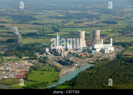 Aerial view, former THTR-300 Nuclear Power Plant, today Westfalen coal power station, under construction, safe enclosure, - Stock Photo