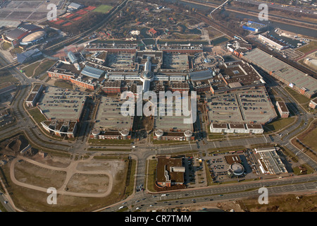 Aerial view, extension of the Centro Oberhausen mall, C and O extension, entrance area, Oberhausen, Ruhrgebiet region - Stock Photo