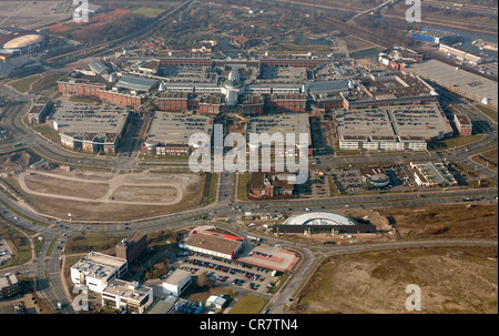 Aerial view, extension of the Centro Oberhausen mall, C and O extensions, entrance area, new amusement arcade at - Stock Photo