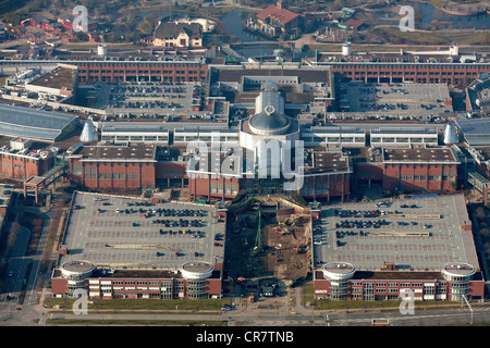 Aerial view, extension of the Centro Oberhausen mall, C and O extensions, entrance area, Oberhausen, Ruhrgebiet - Stock Photo