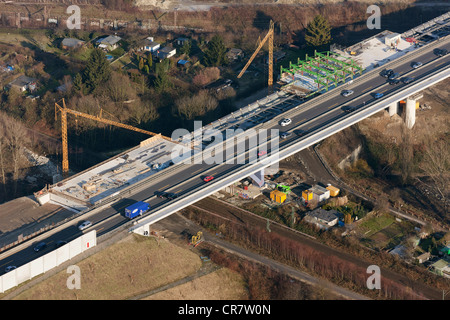 Aerial view, Schnettkerbruecke bridge, Ruhrschnellweg, traffic jam, expansion A40, B1, Dortmund, Ruhrgebiet region - Stock Photo