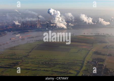 Flood water, Rhine River, Rheinauen, Rhine floodplains, Duisburg, North Rhine-Westphalia, Germany, Europe - Stock Photo