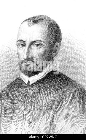 Giovanni Pierluigi da Palestrina, Italian composer, 1525 - 1590, historical portrait, 1852 - Stock Photo