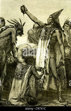 Human sacrifice, priest showing the heart, Mexico, historical illustration, 1869 - Stock Photo