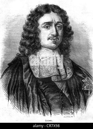 Jean-Baptiste Colbert, 1619–1683, French minister of finance under King Louis XIV, historical portrait, 1860 - Stock Photo