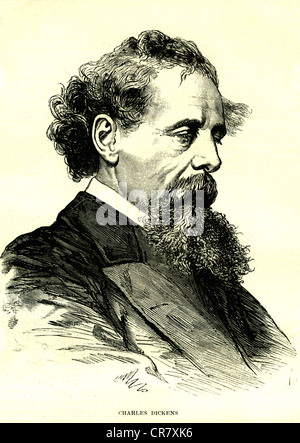 Charles Dickens, English writer, 1812 - 1870, historical portrait, 1872 - Stock Photo