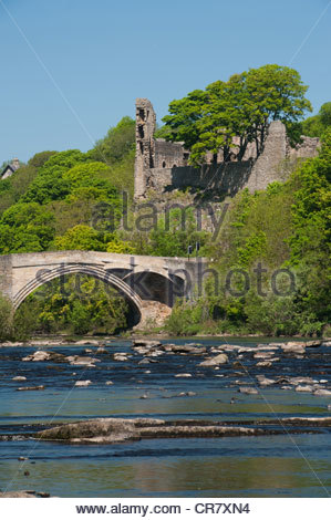 Barnard Castle and the river Tees in County Durham - Stock Photo