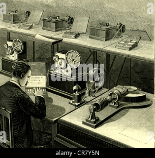 Telegraph by Jean-Maurice-Émile Baudot, historical illustration, 1889 - Stock Photo