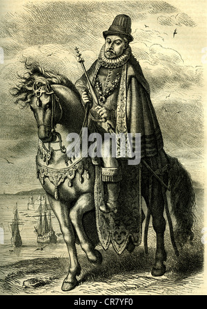 Philip II, King of Spain, 1527 - 1598, historical print from 1885 - Stock Photo