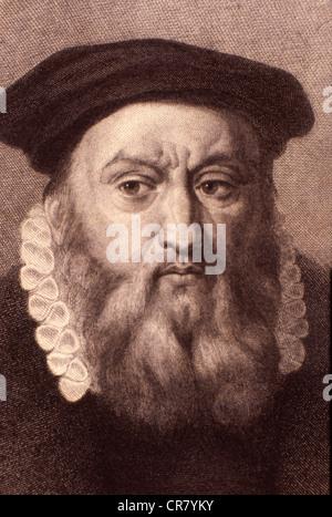Jean Calvin, French religion reformer, 1509 - 1564, historical engraving, 1860 - Stock Photo