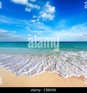 Beautiful beach and wave - Stock Photo