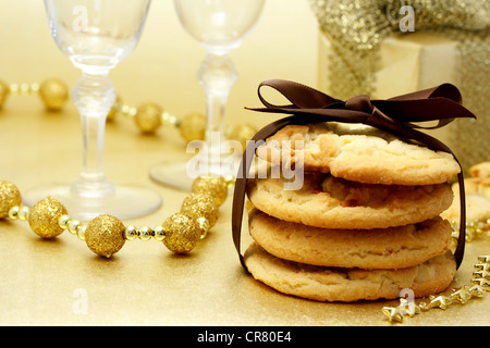 Celebration Theme - cookies and champagne - Stock Photo