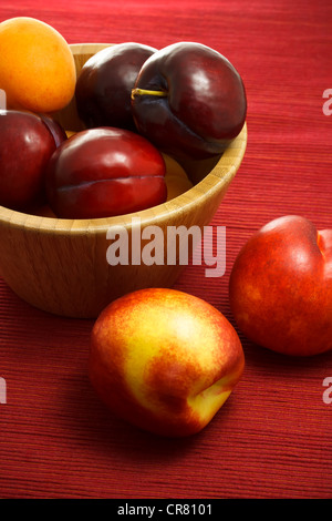 Juicy nectarines, plums and apricots on red background - Stock Photo
