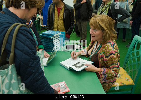 Hannah Rothschild, English writer and director pictured book signing at The Telegraph Hay Festival 2012, Hay-on - Stock Photo